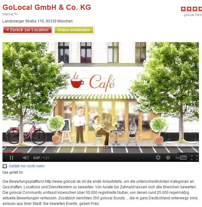 golocal wird um ein nettes Feature reicher: Einbau der Videos in die Locationdetailseite