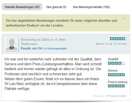 So sieht der neue Filter auf golocal.de aus